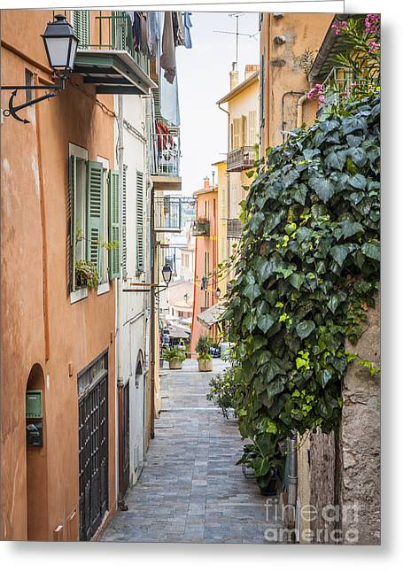 Mediterranean Plants Greeting Cards - Old street in Villefranche-sur-Mer Greeting Card by Elena Elisseeva