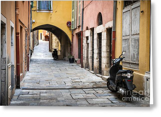 Motor Scooters Greeting Cards - Old town in Villefranche-sur-Mer Greeting Card by Elena Elisseeva