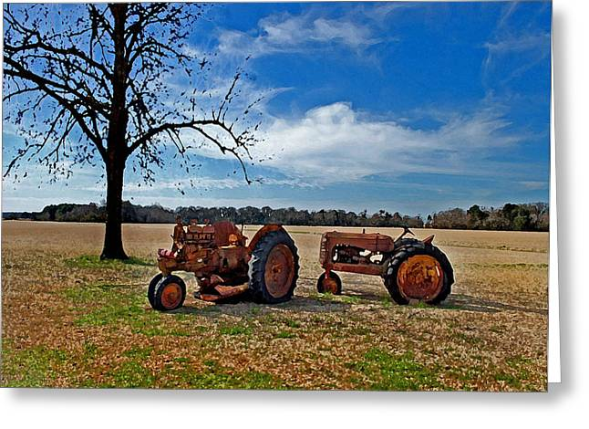 2 Old Tractors And The Tree Greeting Card by Michael Thomas