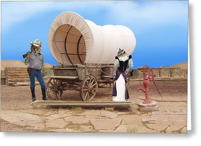 Wagon Mixed Media Greeting Cards - Old West Cats  Greeting Card by Gravityx9  Designs