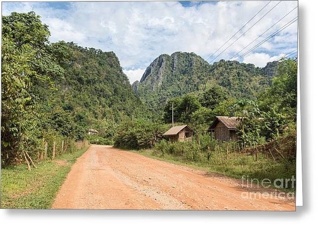 The Hills Greeting Cards - On the road in Laos Greeting Card by Didier Marti