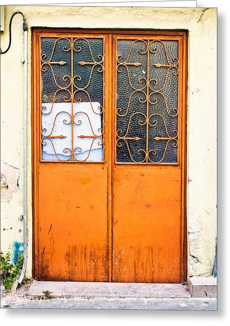 Orange Door Greeting Card by Tom Gowanlock