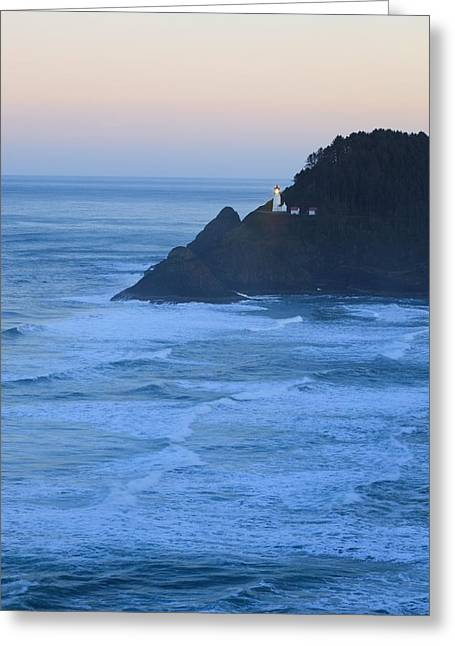 Oregon Lighthouse Image Greeting Cards - Oregon, United States Of America Heceta Greeting Card by Craig Tuttle
