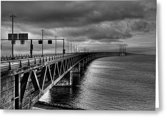 Malmo Greeting Cards - Oresund Bridge - Malmo Sweden Greeting Card by Hans Stolpe