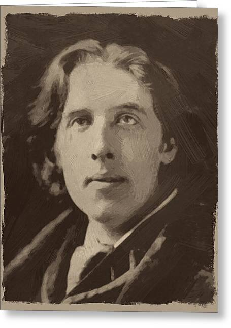 Oscar Wilde 1 Greeting Card by Afterdarkness