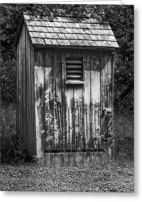 Wooden Outhouse Greeting Cards - Outhouse Shack Greeting Card by Susan Candelario