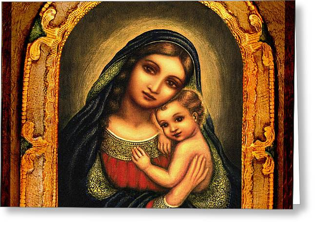 Virgin Mary Greeting Cards - Oval Madonna Greeting Card by Ananda Vdovic