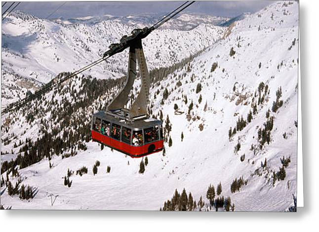 Overhead Cable Car In A Ski Resort Greeting Card by Panoramic Images