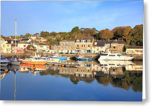 Cornwall Greeting Cards - Padstow - Panoramic Greeting Card by Carl Whitfield