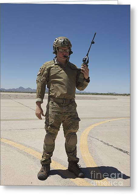 Transceiver Greeting Cards - Pararescuemen Conducts A Communications Greeting Card by Terry Moore
