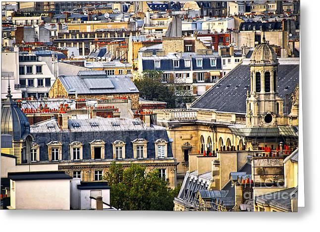 Rooftop Photographs Greeting Cards - Paris rooftops Greeting Card by Elena Elisseeva