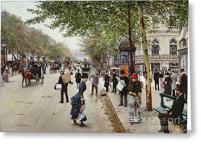 Parisian Street Scene Greeting Card by Jean Beraud