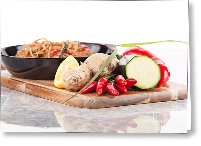 Noodles Greeting Cards - Pasta dish with fresh vegetables in the pan Greeting Card by Wolfgang Steiner