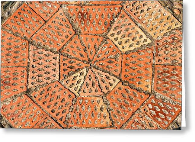 Industrial Background Greeting Cards - Pavement texture with gears and bricks in Montjuic Barcelona Spain Greeting Card by Eduardo Huelin
