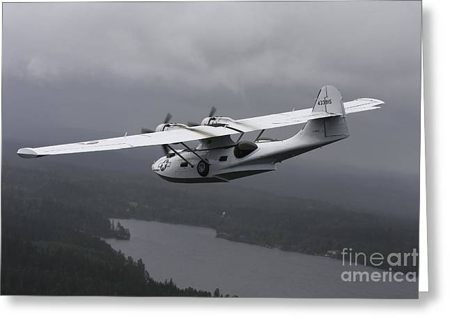 Propeller Greeting Cards - Pby Catalina Vintage Flying Boat Greeting Card by Daniel Karlsson