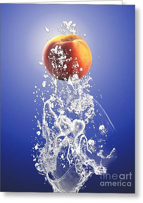 Peach Splash Greeting Card by Marvin Blaine