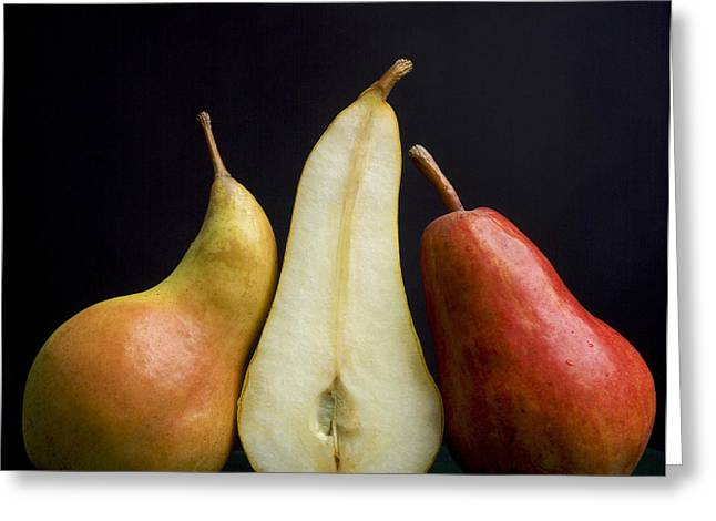 Halved Greeting Cards - Pears Greeting Card by Bernard Jaubert
