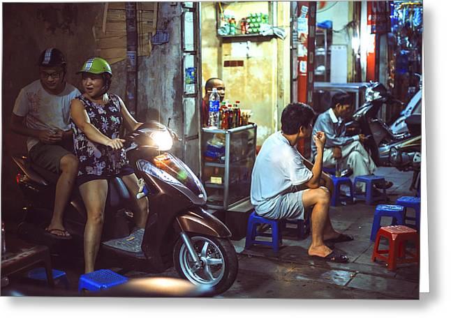 Long Street Greeting Cards - People and traffic at night in Hanoi Vietnam Greeting Card by Eduardo Huelin