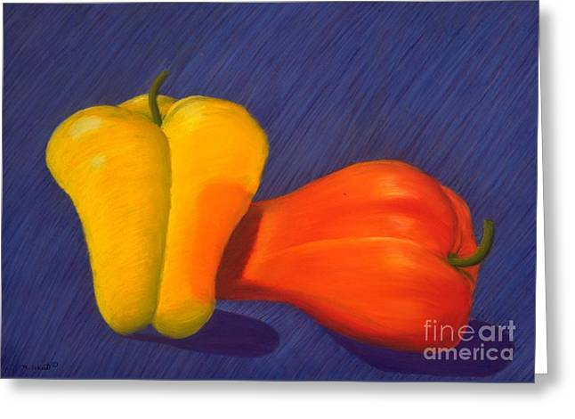 Playful Pastels Greeting Cards - 2 Peppers Greeting Card by Mary Erbert
