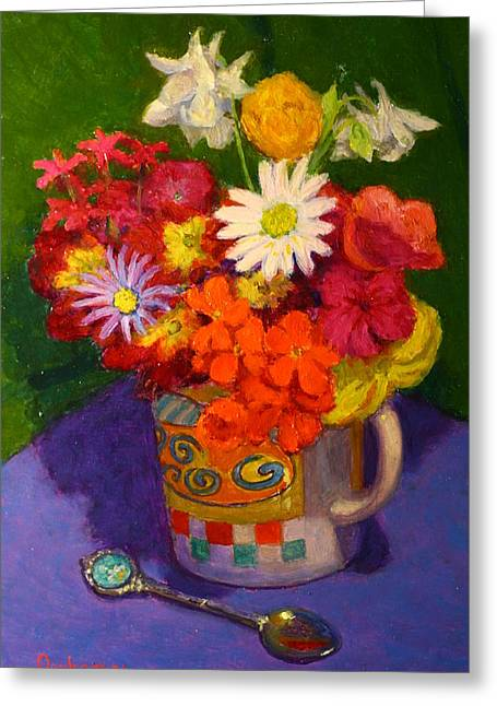 Terry Perham Paintings Greeting Cards - Petals and silver Greeting Card by Terry Perham