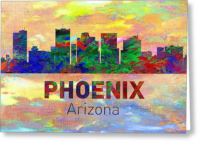 Seattle Skyline Greeting Cards Greeting Cards - Phoenix Skyline - Usa City Greeting Card by Michael Vicin