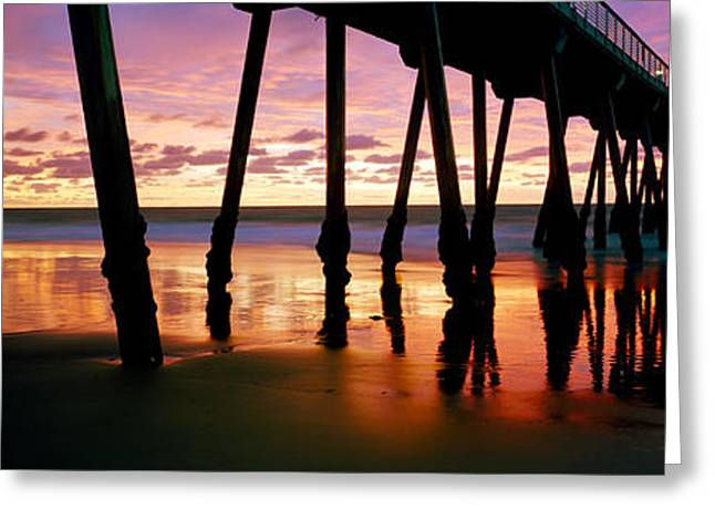 Pier In The Pacific Ocean, Hermosa Greeting Card by Panoramic Images