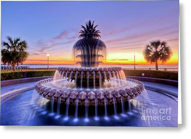 Charleston Greeting Cards - Pineapple Fountain Charleston SC Sunrise Greeting Card by Dustin K Ryan