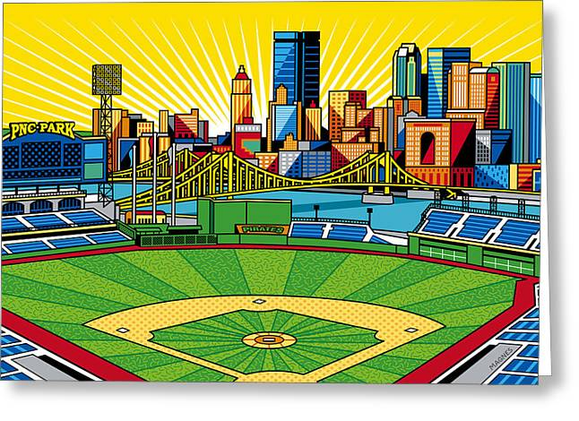 Baseball Art Greeting Cards - PNC Park gold sky Greeting Card by Ron Magnes