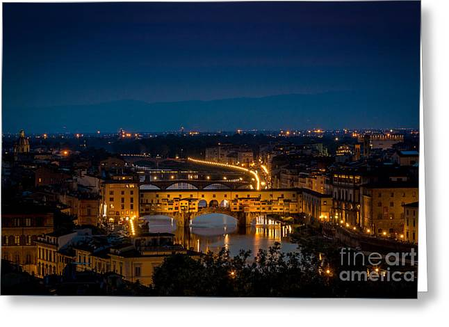 Tuscan Sunset Greeting Cards - Ponte Vecchio at sunset and the river Arno - Florence - Italy Greeting Card by Bailey Cooper Photography