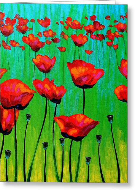 Acrylic Greeting Cards - Poppy Dance Greeting Card by John  Nolan