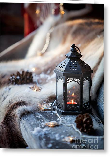 Snowy Night Night Greeting Cards - Porch decoration Greeting Card by Kati Molin