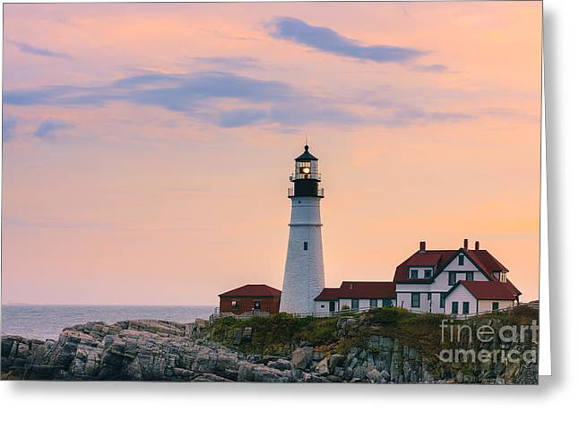 Gulf Of Maine Greeting Cards - Portland Head Light Greeting Card by Henk Meijer Photography