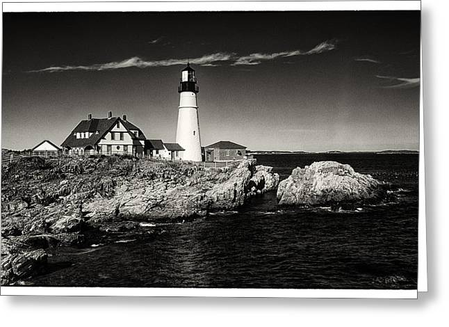 Maine Lighthouses Greeting Cards - Portland Head Lighthouse Greeting Card by Robert Fawcett