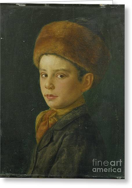 Portrait Of A Young Boy Greeting Cards - Portrait of a Boy Greeting Card by Isidor Kaufmann
