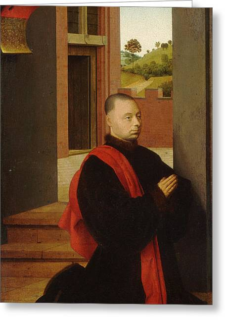 Portrait Of A Male Donor Greeting Card by Petrus Christus
