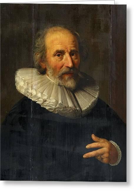 Portrait Of The Painter Abraham Bloemaert Greeting Card by Hendrick Bloemaert