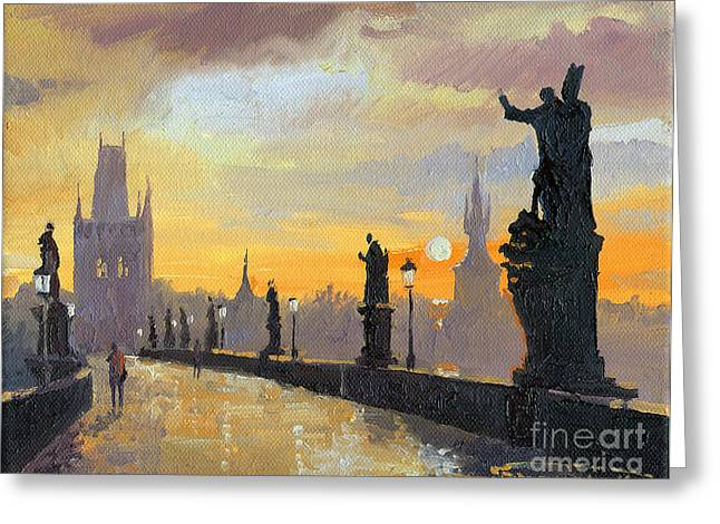 City Scenes Paintings Greeting Cards - Prague Charles Bridge 01 Greeting Card by Yuriy  Shevchuk