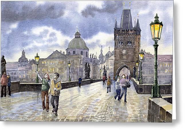 Prague Paintings Greeting Cards - Prague Charles Bridge Greeting Card by Yuriy  Shevchuk