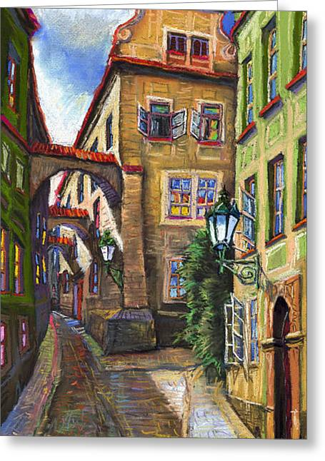 Czech Greeting Cards - Prague Old Street Greeting Card by Yuriy  Shevchuk