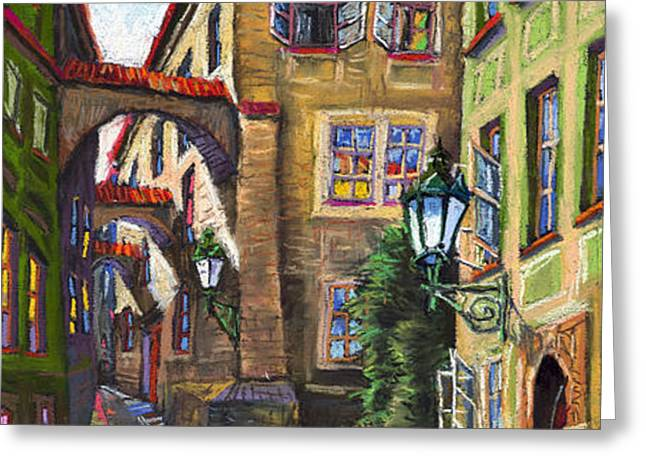 Prague Old Street Greeting Card by Yuriy  Shevchuk