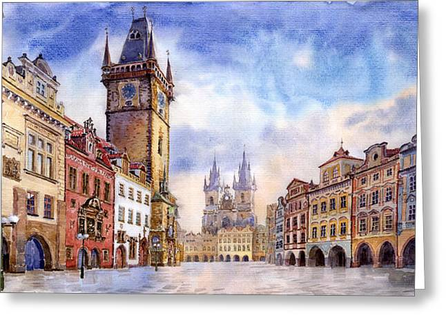Buildings Paintings Greeting Cards - Prague Old Town Square Greeting Card by Yuriy  Shevchuk