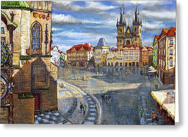 Urban Buildings Pastels Greeting Cards - Prague Old Town Squere Greeting Card by Yuriy  Shevchuk
