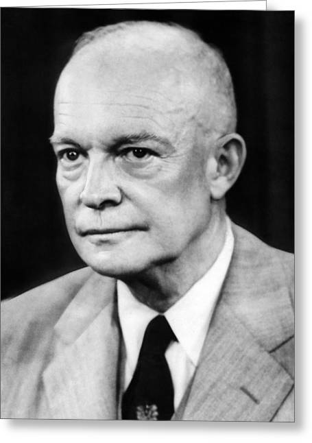 1950s Portraits Greeting Cards - President Dwight D. Eisenhower Greeting Card by Underwood Archives
