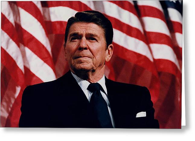 Politicians Paintings Greeting Cards - President Ronald Reagan Greeting Card by War Is Hell Store