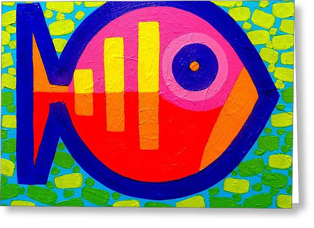 Print Card Greeting Cards - Psychedelic Fish  Greeting Card by John  Nolan