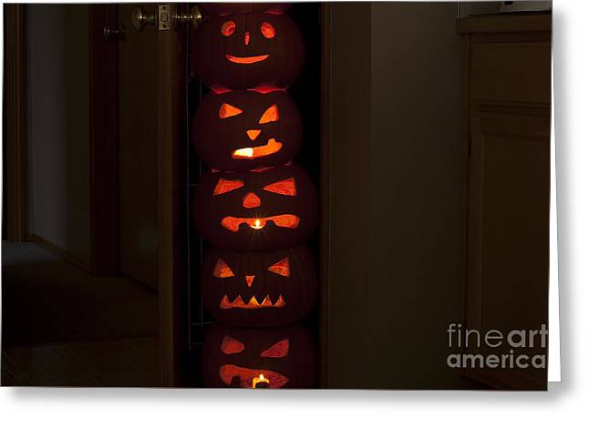 Liberation Greeting Cards - Pumpkins Escaping from Pantry Greeting Card by Jim Corwin