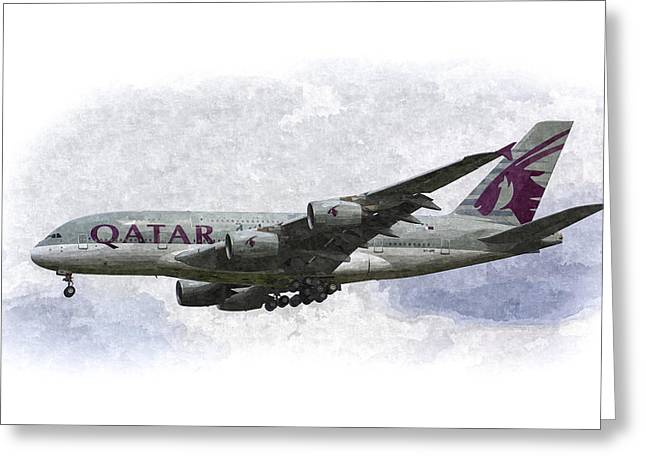 A380 Greeting Cards - Qatar Airlines Airbus Art Greeting Card by David Pyatt