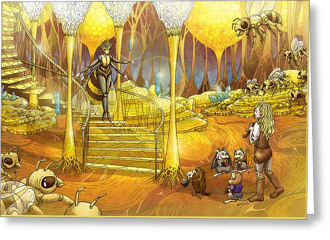 Francis Greeting Cards - Queen of the Hive Greeting Card by Reynold Jay