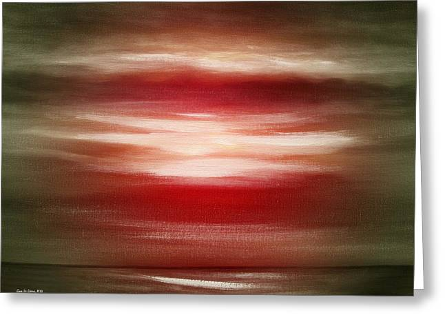 Sunset Posters Greeting Cards - Red Abstract Sunset Greeting Card by Gina De Gorna