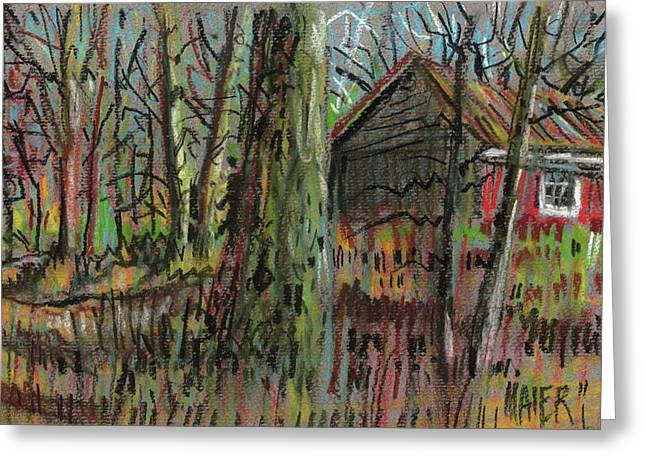Country Pastels Greeting Cards - Red Barn Greeting Card by Donald Maier
